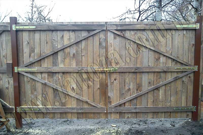 Как сделать ворота из дерева своими руками на даче 73
